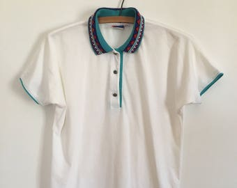 90's tennis polo sportswear rad collar detailing by Tail - size small