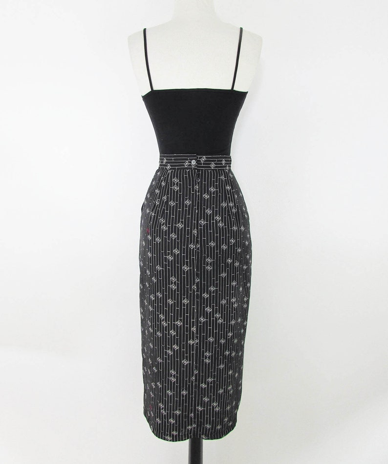 Size Small Vintage Black and Cream Cherie Logo Pencil Skirt
