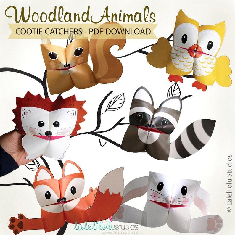 PRINTABLE WOODLAND Animals Cootie Catchers  PDF download  image 0