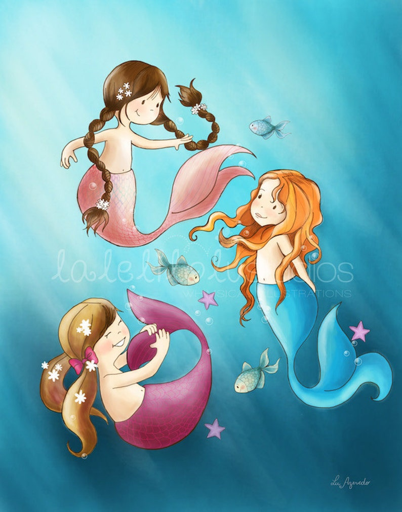 THE MERMAIDS  Children's Wall Art Print   Under the sea image 0
