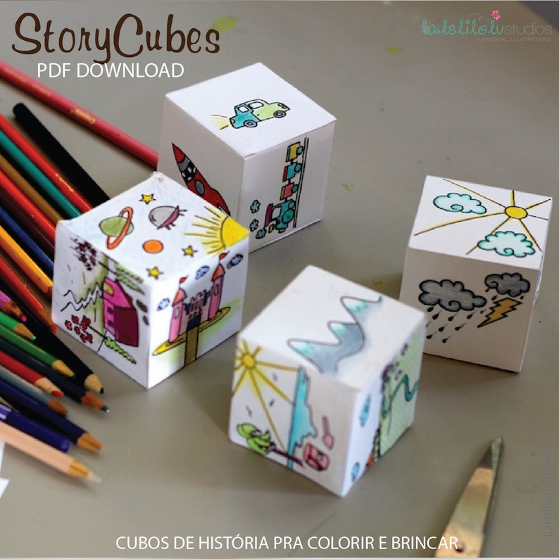 PRINTABLE STORY CUBES story dice creative paper play  image 0