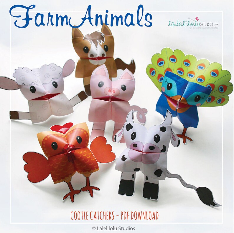 PRINTABLE FARM Animals Cootie Catchers  PDF download  Cow image 0