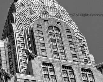 Art Deco Chrysler Building photograph in New York City NYC print  Black and White, wall decor 8 x 10