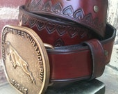 Trail of Hearts Handcrafted Leather Belt for the Angeles Crest 100 Mile Buckle (Limited Edition)