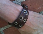 Skinny Double Wrap Leather Cuff with Eyelets