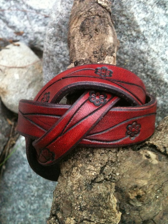 Braided Ox-Blood-Vine Leather Cuff