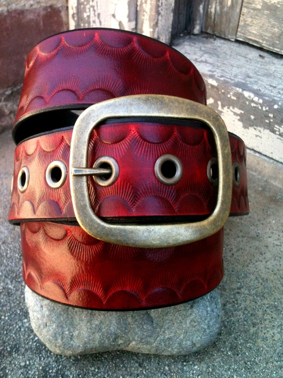 Red Sunset Handcrafted Leather Belt