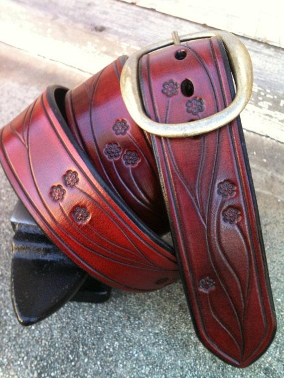 Hand-Carved Ox-Blood Flower Vine Leather Belt