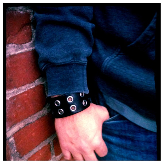 Double Black Eye Leather Cuff