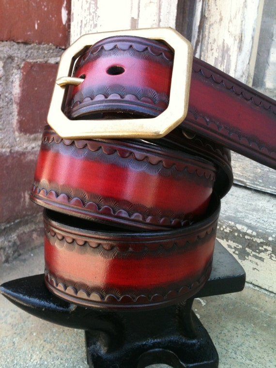 Red Second Sunrise Handcrafted Leather Belt (Limited Edition)