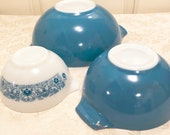 Horizon Pyrex Cinderella Bowls Set Of Three Turquoise Nesting Bowls Pyrex 444 442 And 441 Cinderella Teal Pyrex Great Condition Pyrex