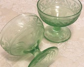 2 Desert Stemmed Serving Bowls Green Vaseline Dessert Bowls Bold Green Glass Bowls Really Glows Under UV Light Uranium Green Glass Goblets
