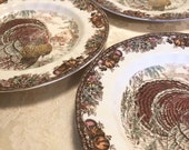 4 Turkey Dinner Plates Made In England By Johnson Bros. Autumn Monarch Detailed Engraving Under The Glaze Detergent And Acid Resisting