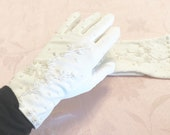 Vintage Style Gloves- Long, Wrist, Evening, Day, Leather, Lace Antique White Gloves With Beading Perfect Beads Framing Each Curve Elegant White Gloves Wedding Appropriate Formal Evening Gloves $29.95 AT vintagedancer.com