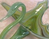 Italian Murano Blown Glass Swan Cobalt Blue Glass Bowls Beautiful Green Swan Vintage Fruit Basket Hand Blown Bowl Swan Decor
