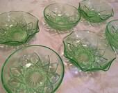 6 Green Vaseline Dessert Bowls Hazel Atlas Green Glass Bowls Really Glows Under UV Light Green Glass 30s 40s Crinoline And Circular Bowls