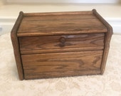 Primitive Bread Box Country Kitchen All Original Hand Carved Rustic Wood Kitchen Bread Box With Simple Design Solid Oak