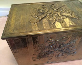 30s Brass Trunk Brass And Wooden Box Storage Bin Manly Gun Or Knife Storage Liberty Themed Torch Design Brass Wrapped Nailed On Brass