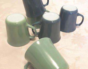 6 Retro Sea Foam Green And Grey Blue Vintage Pyrex 8oz Mugs Three Of Each Color Multi Color Pyrex Lot Mug Set