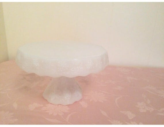 Rising Lace Edges With Middle Pedital Plate Westmoreland Solid White Elegant Milk Glass Cake Stand With Grape Cluster And Vine Design