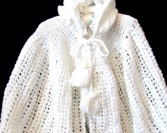 Hand Knit baby cape, christening cape, hooded baby cape, toddler knit cape, baby crochet cape, baby shower gift, new baby gift, white cape