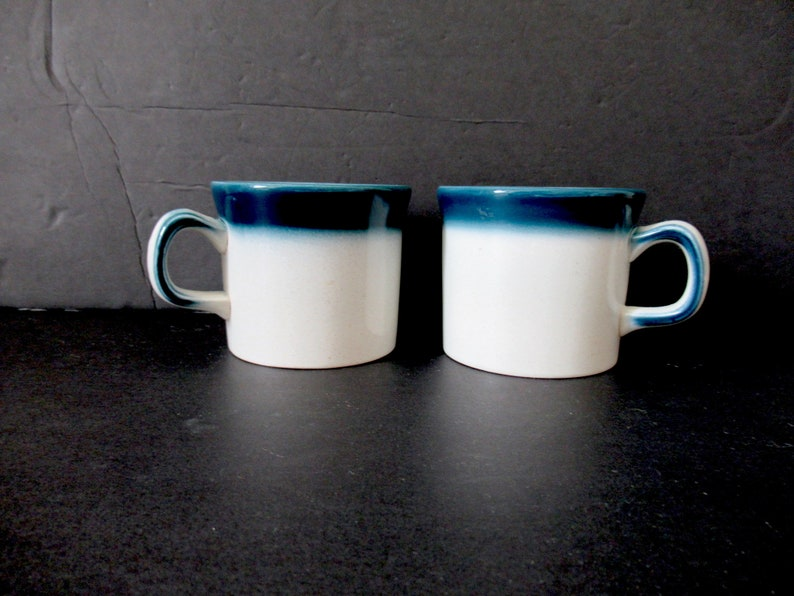 English tea cups 2 coffee cups morning coffee cup Made in England 70s Wedgwood Blue Pacific cups