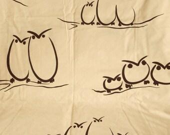 Vintage Full Flat sheet, owl sheet, owl bird sheet, owl full sheet, 80s bedding, modern owl sheet, owl lover sheet, owl fabric, beige sheet