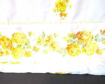 vintage bedding, sheet tablecloth, vintage fabric, boho bed sheet, double bed size, double bed sheet, yellow flower fabric, flower fabric