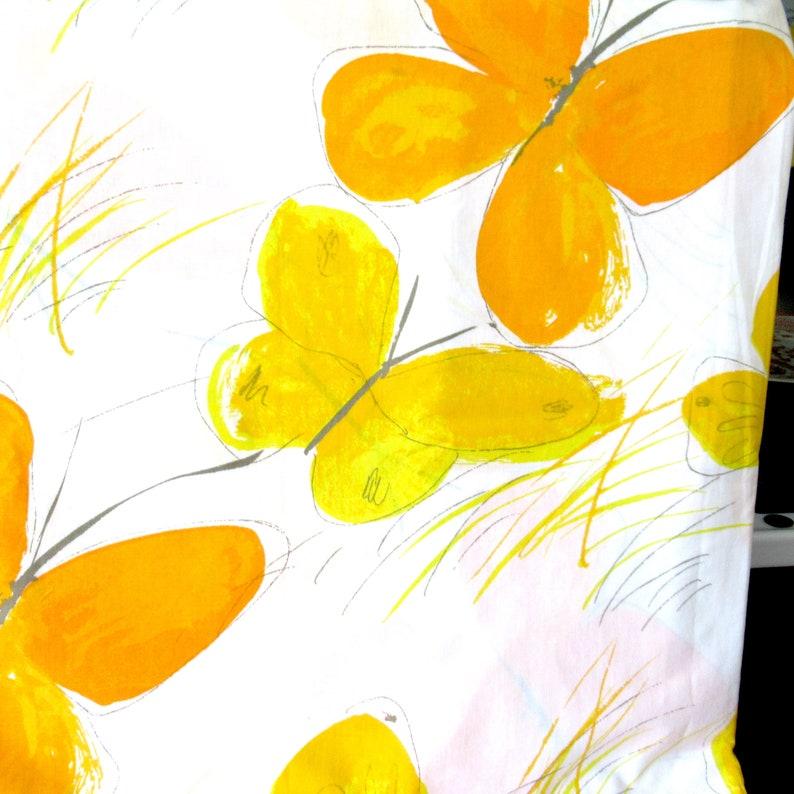 Vera flat sheet spring sheet butterfly sheet 70s bedding butterflies sheet flat Vera sheet 70s yellow sheet Vintage Twin Flat sheet