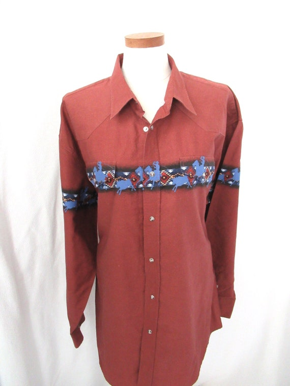 Vintage Roper western shirt 2XL, cotton cowboy sh… - image 1