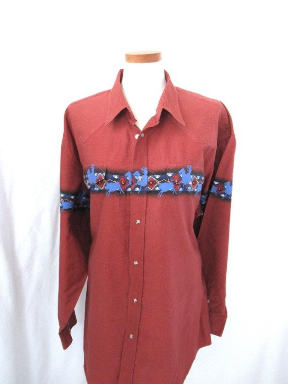 Vintage Roper western shirt 2XL, cotton cowboy sh… - image 2