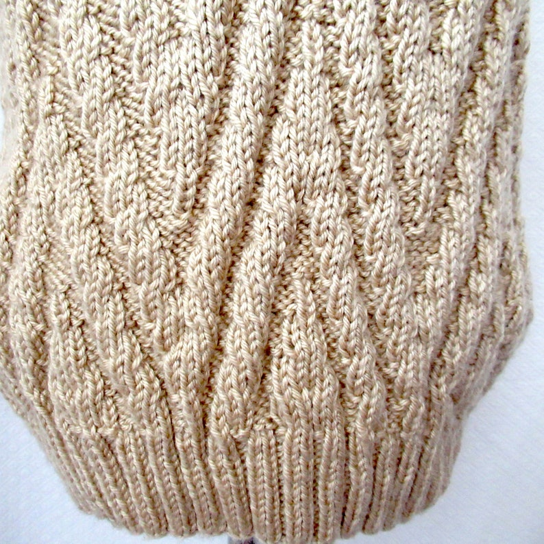 sleeveless sweater boys mans knit vest mans beige knit vest womans beige knit vest vest size S Hand knit beige vest V neck knit vest