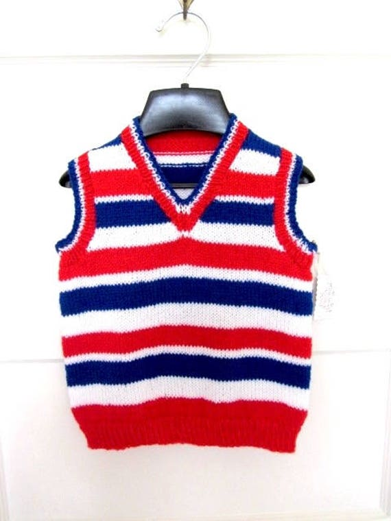 b58b972d7 Hand knit child vest Childs Stripe Vest 4th July vest red
