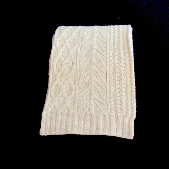 Vintage wool cashmere Scarf, J Crew scarf, cream w
