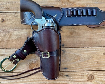 """They call me """"trinity"""" Gun rig, with Steel lined holster. Made to order."""
