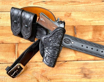 1911 Auto RH Staight Holster, Belt & Double Magazine Pouch black. Made to order.