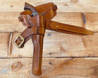 """Wyatt Earp 10"""" Buntline Holster and Belt. Made to order."""