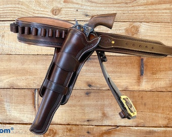 """Colt 10"""" Buntline cross draw holster and Cartridge Belt, both fully lined. Made to order."""