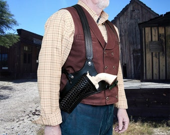 """Tombstone Movie """"Doc Holiday"""" Shoulder Holster. Made to order. Left Hand version."""