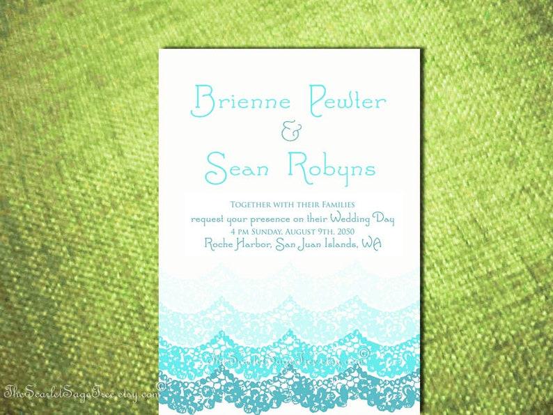 Custom Color WAVES Beach Wedding Invitation Design Printable