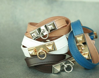 5aac26748d52 Square Ornament Leather Bracelet(Narrow width)