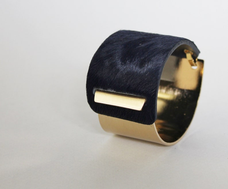 Gold, Silver Wide Statement Bangle Deep Navy Calf Hair Cuff BLC005