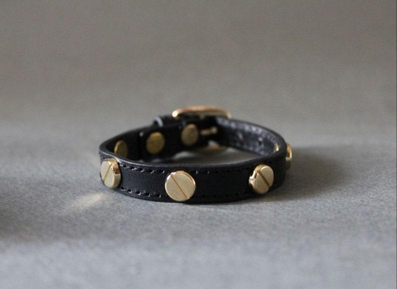 French Screw Stud Leather Bracelet Single Wrap Bracelet with image 0