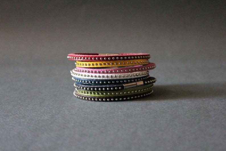 Buy 2 Get 1 Free 3 Sets of Mini Stud Leather Bracelet Single image 0