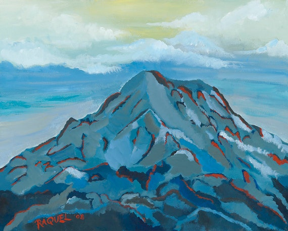 Mont Rainier peinture bleu montagne impression peinture | Etsy