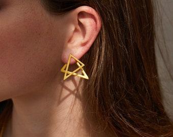 Triangle Ear Jackets, Double Sided Earrings, Geometric Minimal Earrings, Triangle Front Back Earrings, Statement Earrings, Dainty Ear Jacket