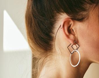 Changeable Jacket Earrings ~ Geometric Interlocking Earrings ~ Interchangeable Dangle Earrings