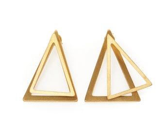 Gold Triangle Earrings, Double Earrings, Geometric Stud Earrings, Front Back Earrings, Gold Statement Earrings, Gold Ear Jacket