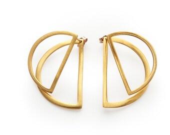 Half Moon Earrings, Geometric minimal earrings, Gold Ear Jackets, Double Sided Earrings, Front Back Earrings, Half Moon minimal earrings