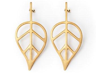 Real Leaf earrings, Minimal leaf earrings, Statement earrings, Black leaf earrings, Long gold earrings, Nature inspired earrings